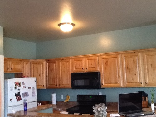 The Kitchen Is Connected To Living Room And Wall Color A Really Light Blue Green Thank You
