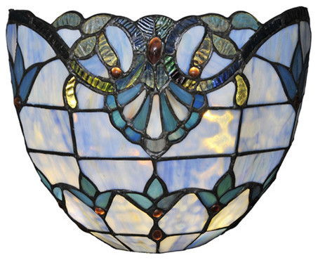 "8"" Stained Glass Allistar Cordless Led Wall Sconce, Blue. -1"