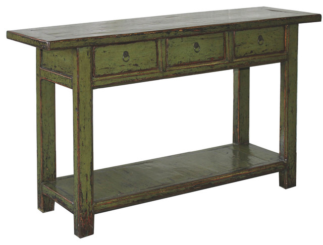 Olive Green Lacquered Console Table