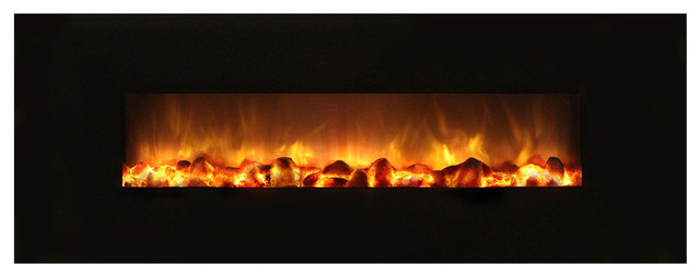 40 Electric Fireplace With Black Gl Frame No Heat