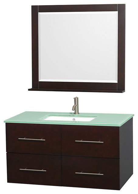 "Centra 42"" Vanity, Undermount Square Sink, 36"" Mirror, Espresso, Green Glass."