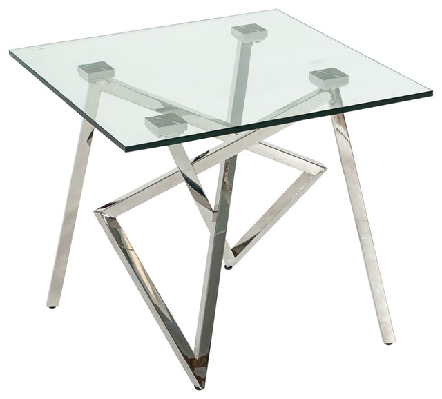 Modrest Hawkins Modern Glass And Stainless Steel End Table
