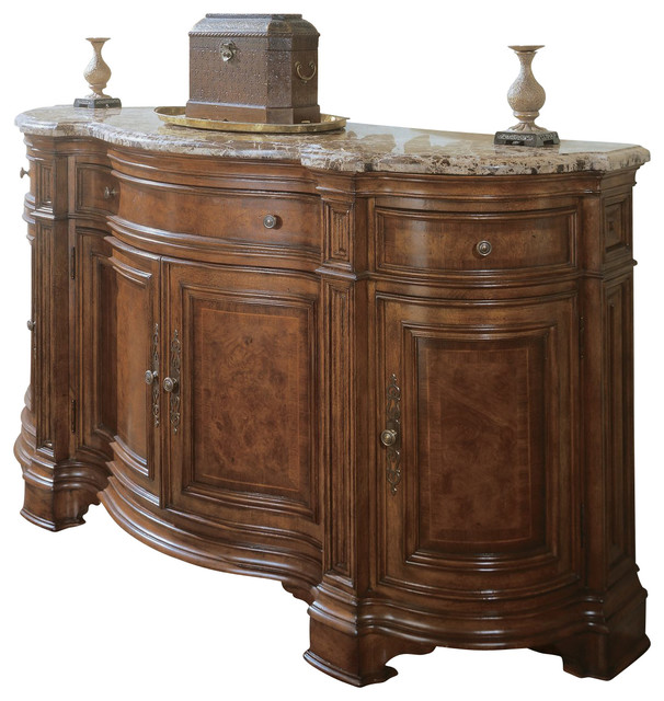 Marble Top Dining Room Sideboard Credenza Traditional Buffets And Sideboa