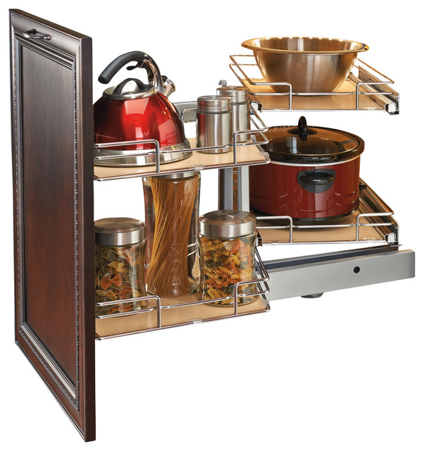 Rev-A-Shelf Two-Tier Blind Corner Organizer, Chrome - Traditional - Pantry And Cabinet ...