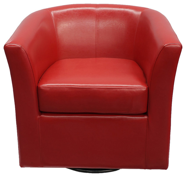 Small Red Leather Accent Chair: Corley Red Leather Swivel Club Chair