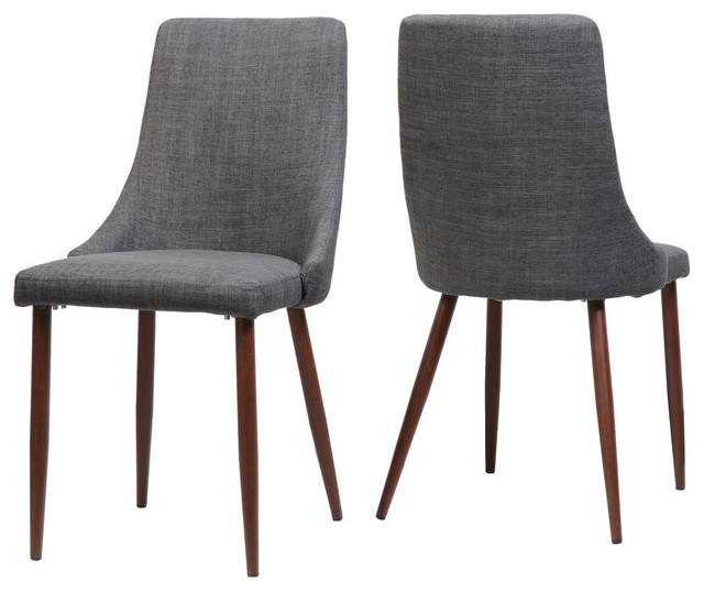GDF Studio Soloman Fabric Dining Chairs With Wood Finished Legs, Set Of 2