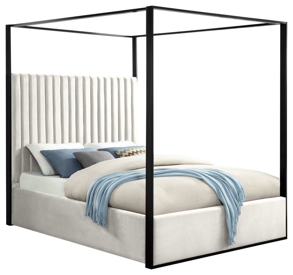 - Jax Velvet Bed - Transitional - Canopy Beds - By Meridian Furniture