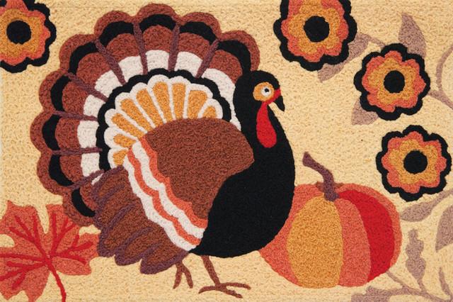Rustic Turkey Fall Decor Indoor Outdoor Accent Rug.