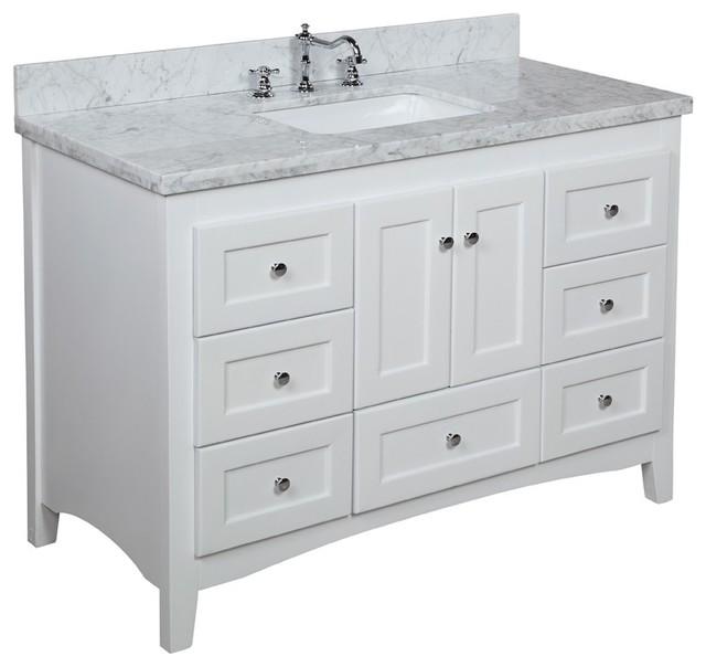"Abbey Bath Vanity, Base: White, 48"", Top: Carrara Marble"