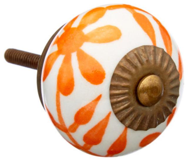 Orange Flower Dresser Drawer Knob Pull