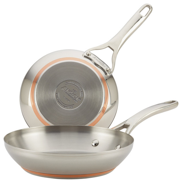 """Nouvelle Copper Stainless Steel Twin Pack 8"""" And 9-1 And 2"""" French Skillets."""