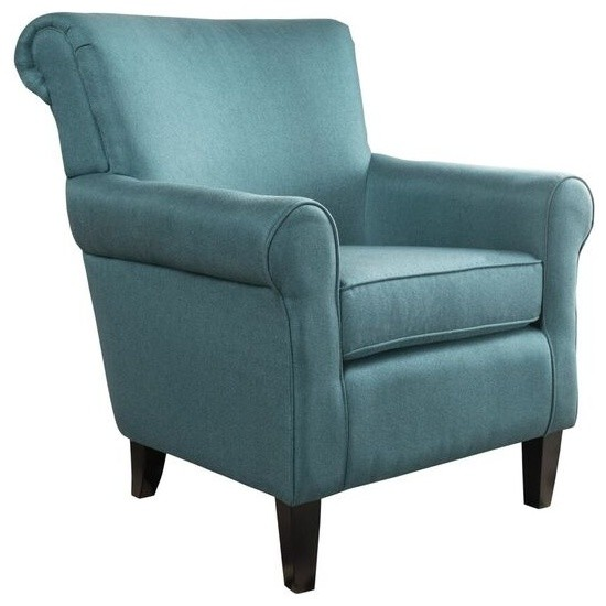 GDFStudio - Manon Plush Comfortable Fabric Club Chair, Teal - Armchairs and  Accent Chairs