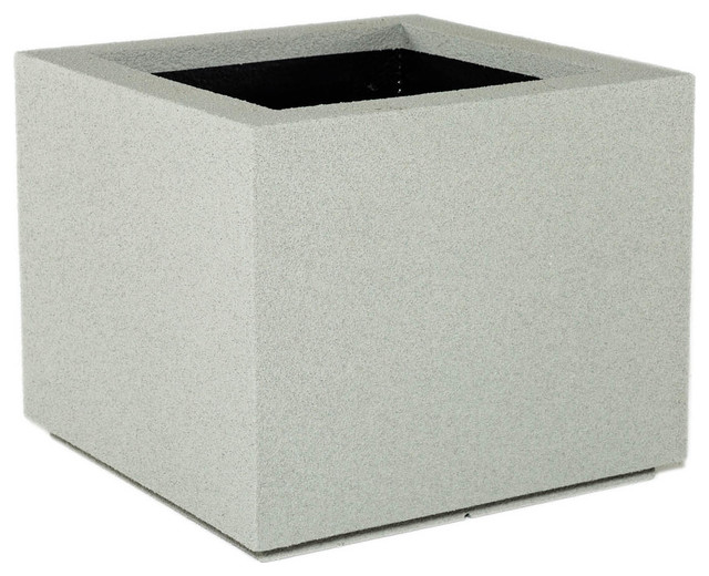 Milan Square Outdoor Planter, Concrete Gray