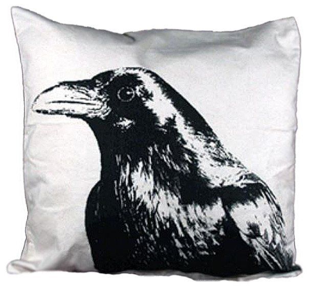 """Eric & Christopher Large Crow Head 20""""x20"""" Pillow With Removable Insert"""