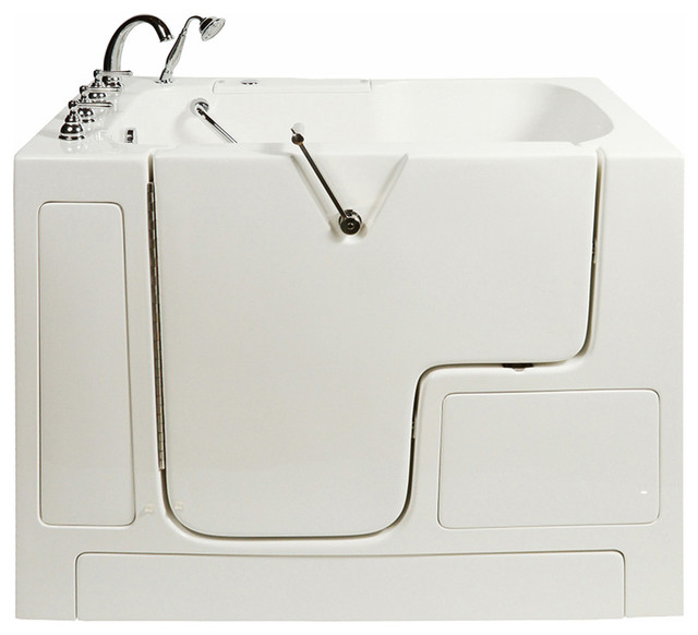 Wheelchair Access Soaking Bathtub In White With Left Drain/door.