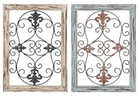 Wood Metal Wall Panel With Intricate Design   Set Of 2 Traditional Wall  Panels
