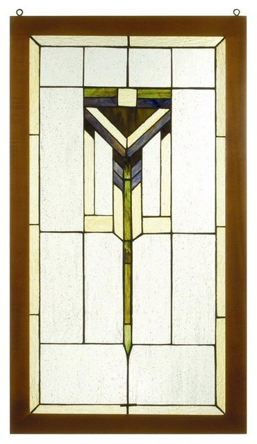 Prairie Wood Frame Window Panel - Craftsman - Stained Glass Panels ...