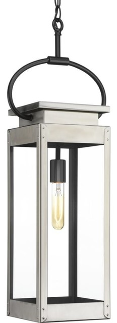 Union Square Collection 1-Light Hanging Lantern, Stainless Steel.