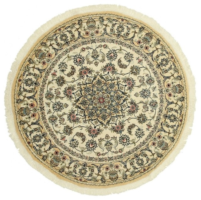 Nain 9La Persian Rug, Round Hand-Knotted Classic, 150x150 cm