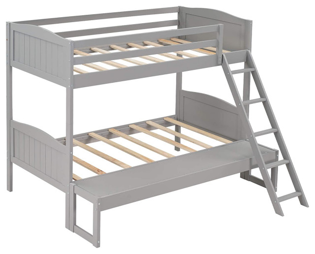 Twin Full Convertible Bunk Bed Pine Wood Construction With Removable Platform Contemporary Bunk Beds By Decor Love Houzz