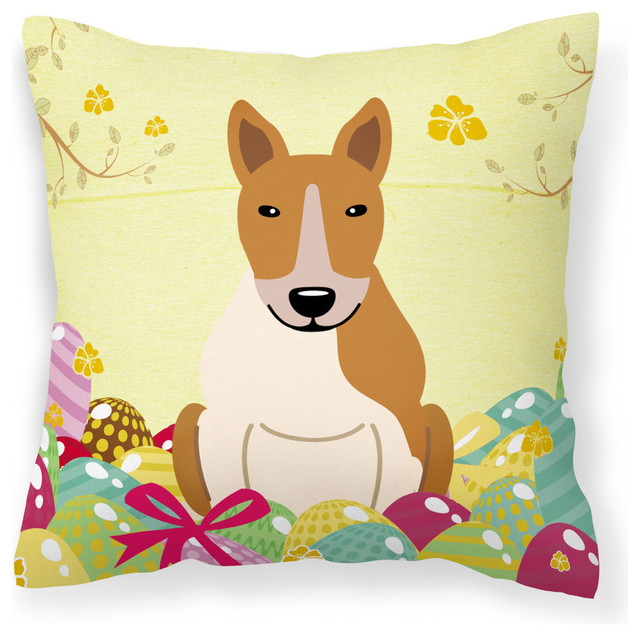 Easter Eggs Bull Terrier Red White Fabric Decorative Pillow