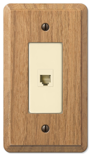 Contemporary Oak Wood Phone Jack Wall Plate Contemporary