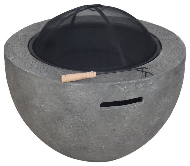 """GDF Studio Lilith Outdoor 32"""" Wood Burning Concrete Round Fire Pit, Gray"""