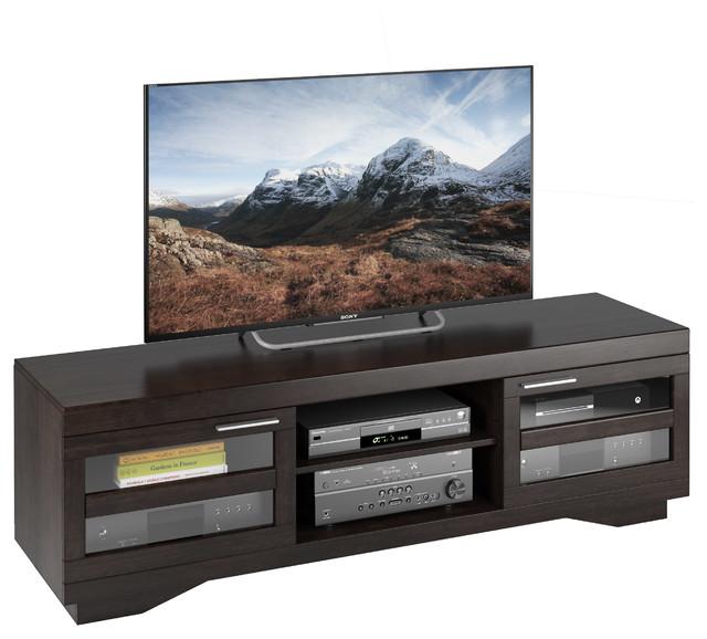 Granville 66 Mocha Black Wood Veneer Tv Bench Transitional