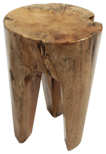 Bhome Teak Furniture 3 Leg Teak Stool Accent And Garden