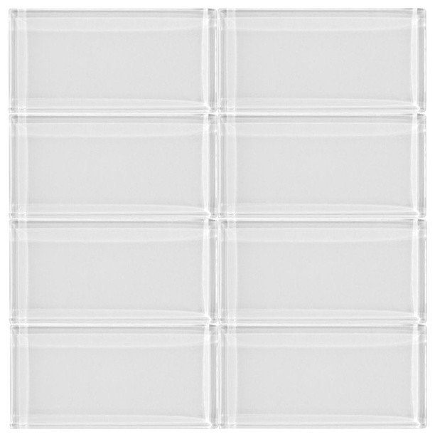 3x6 Bright White Glass Subway Tile Modern Wall And Floor
