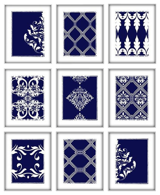 Geometric And Damask Art Prints, Without Frames, Set Of 9. -1