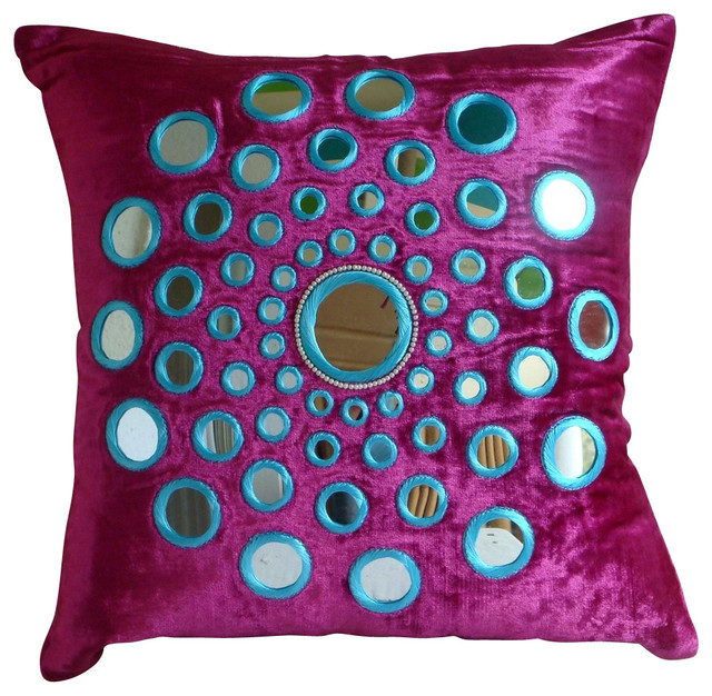 Decorative Pillows With Mirrors : The HomeCentric Mirror Pink Velvet Throw Pillow Covers, Circle Of Images - Decorative Pillows ...