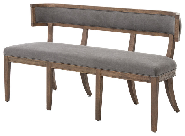 Curved Back Dining Bench, Gray   Dining Benches
