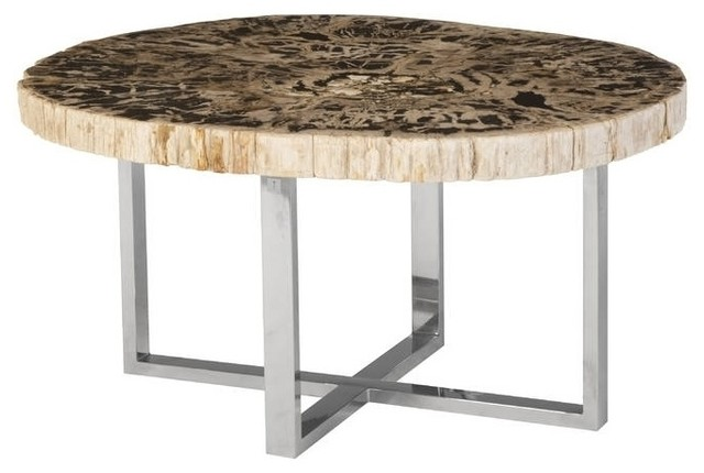 Stone Base Coffee Table.32 Wide Coffee Table Petrified Wood Stone Base Stainless Steel