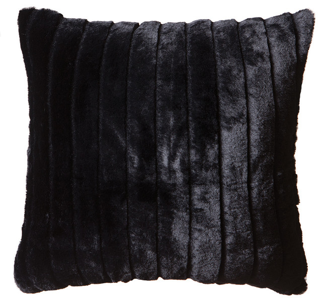Faux Fur Throw Pillow 18 Quot X18 Quot With Insert Black Striped