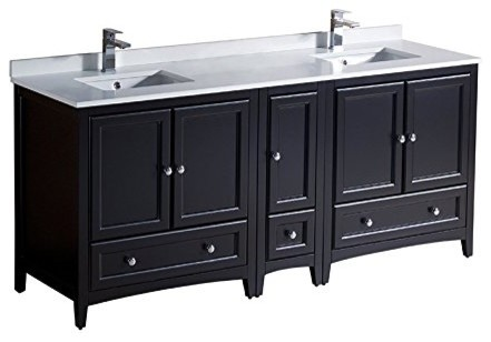 Oxford 72 Espresso Double Sink Bathroom Cabinets With Top And Sink