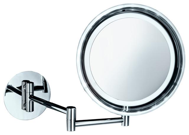 Dwba Wall Cosmetic Makeup 5x Led Light Magnifying Swivel Mirror, Chrome.