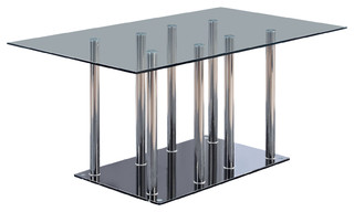 Dining Table, Black, Clear