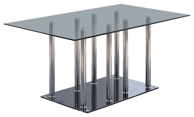 Dining Table, Black, Clear.