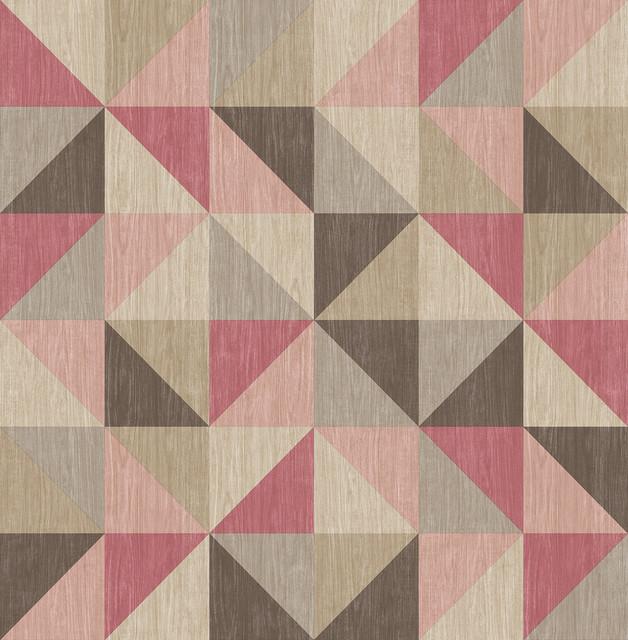 Puzzle Pink Geometric Wallpaper Modern Wallpaper by  : modern wallpaper from www.houzz.com size 628 x 640 jpeg 116kB