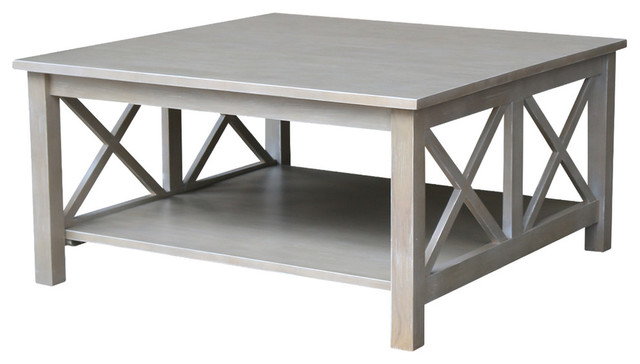 Hampton Square Coffee Table, Washed Gray Taupe.
