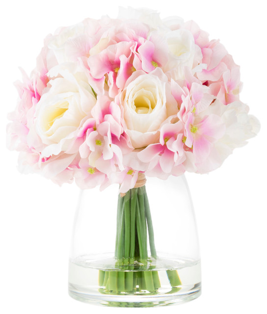 244 & Hydrangea and Rose Artificial Flowers Vase and Faux Water White/Pink