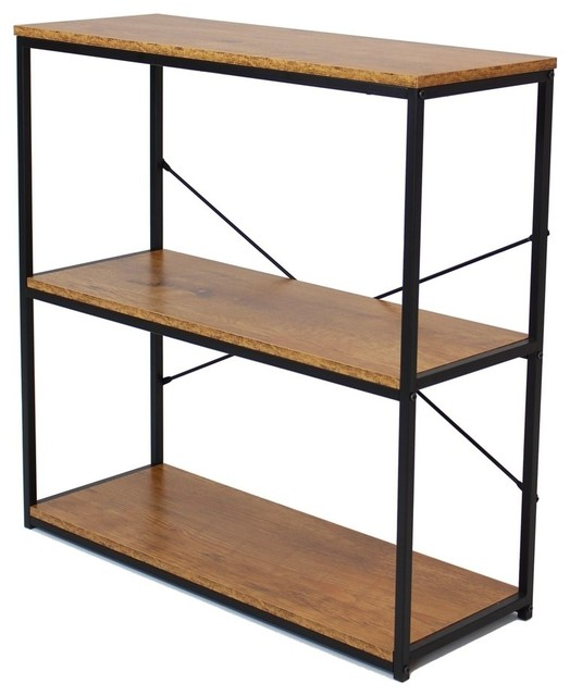 "32"" Tall Metal 3-Tier Etagere Bookcase With Wood Shelves."