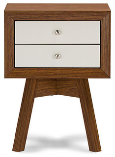 Baxton StudioWarwick 2-Tone Walnut and White Accent Table and Nightstand