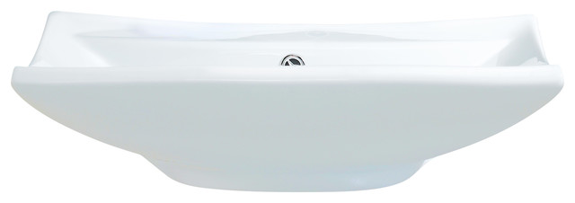 "Vitreous China Square Vessel Sink, White, 24""."