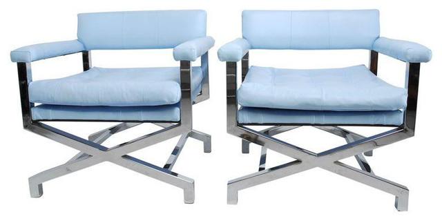 Milo Baughman X Base Chrome U0026 Leather Chairs