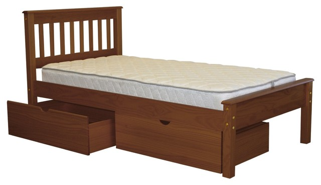 Bedz King Mission Style Twin Bed With 2 Under Drawers In Espresso