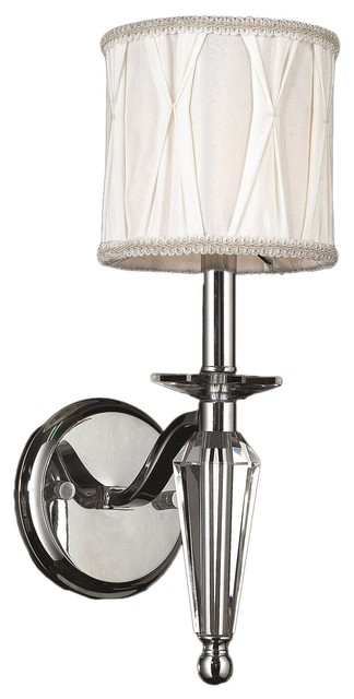 Chrome Wall Sconce With Fabric Shade : Gatsby 1-Light Chrome Finish Crystal Wall Sconce with White Fabric Shade 6