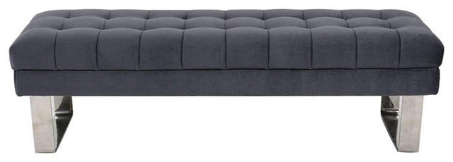 Consigned Mid-Century Tufted Bench.