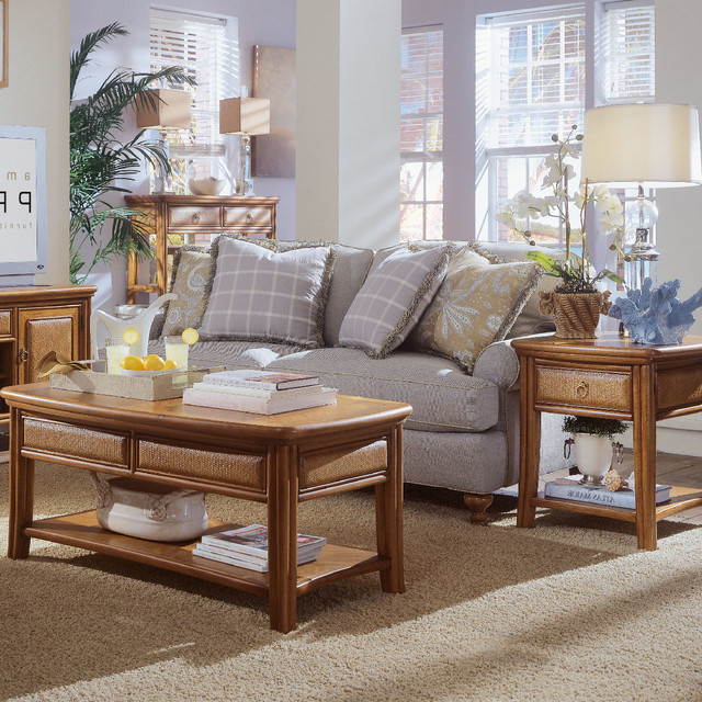 American Drew Antigua 3 Piece Coffee Table Set In Toasted Almond Contemporary Coffee Tables